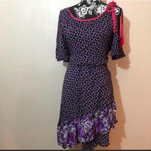 Open shoulder asymmetrical dress